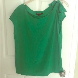 DKNY Kelly Green silk off the shoulder top